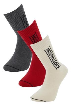 DeFacto Erkek Kırmızı Yazı Desenli 3'lü Soket Çorap