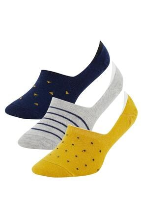 DeFacto Erkek Sarı Desenli 3'lü Babet Çorap