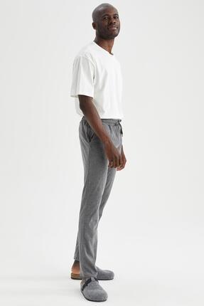 DeFacto Erkek Gri Regular Fit Basic Pijama Alt