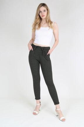 rubbyrush Kadın Haki Çizgili Pantolon Rb0133