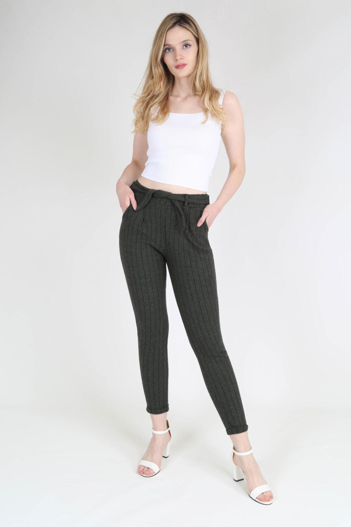 rubbyrush Kadın Haki Çizgili Pantolon Rb0133 1