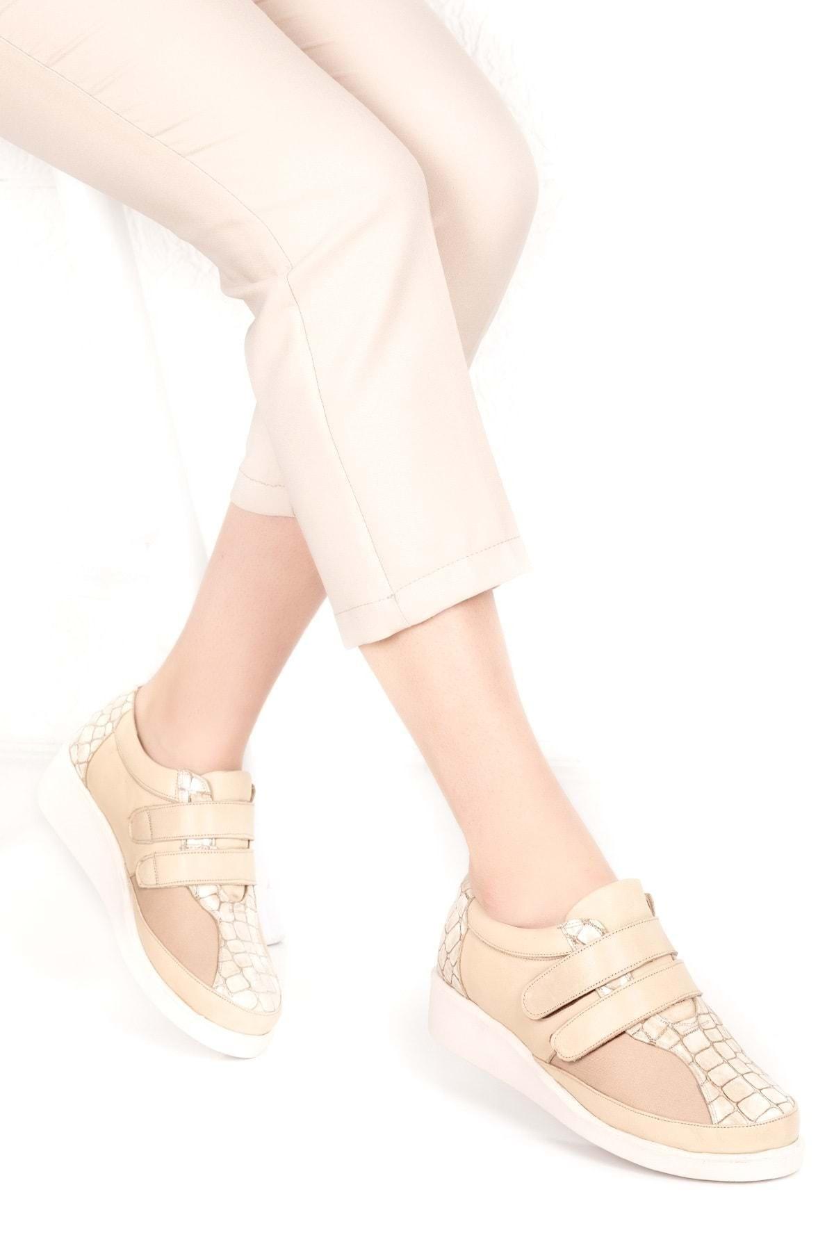 Gondol Kadın  Bej Hakiki Deri Kemik Çıkıntısına Özel Ayakkabı Vdt.1670 - Bej - 41 2