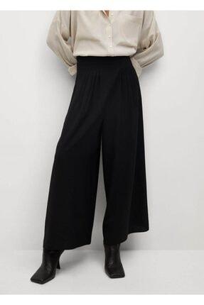 MANGO Woman Kadın Siyah Pileli Pantolon