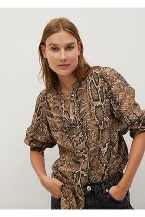 MANGO Woman Kadın Kahverengi Yılan Derisi Desenli Gömlek