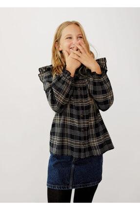 MANGO Kids Kız Çocuk Siyah Ekoseli Fırfırlı Gömlek