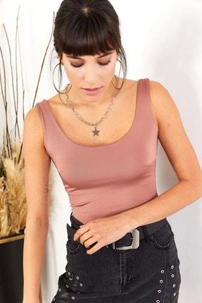 Olalook Kadın Gül Kurusu Önü Çift Katlı Bel Üstü Bluz BLZ-19001340