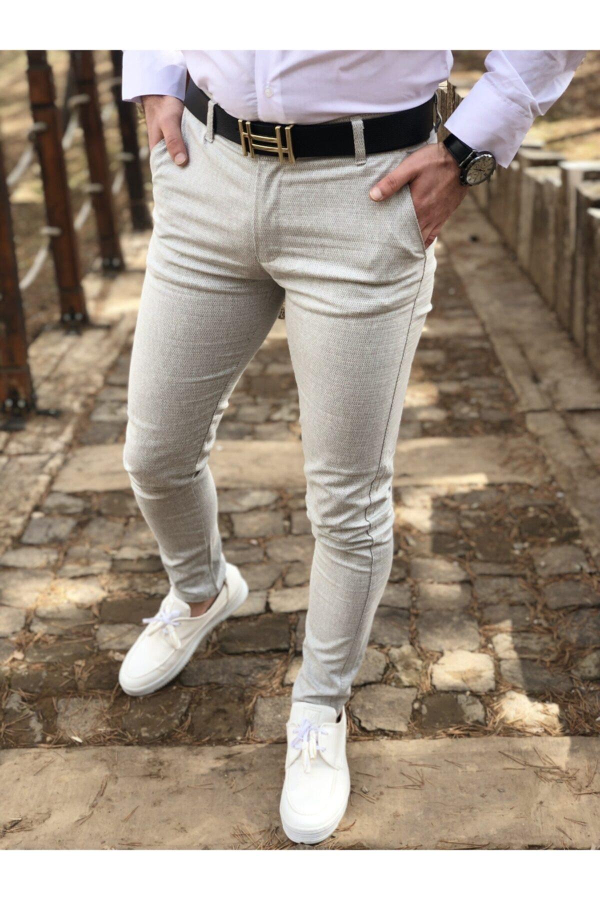 ukdwear Erkek Krem İtalyan Kesim Petek Desen Keten Pantolon 1