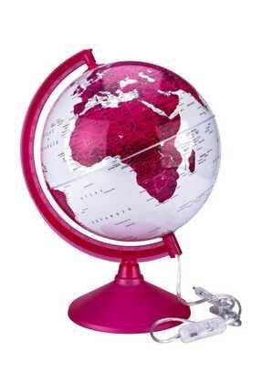 Brons Renkli Işıklı Dünya Küre Siyasi Ve Fiziki Pembe 26cm
