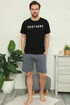 Pijamaevi Erkek Siyah Brothers Baskılı Şortlu Kısa Kollu Pijama Takımı