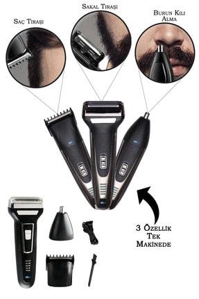 İŞTEBUKACMAZ Şarjlı Saç Sakal Tıraş Makinesi Burun Kılı Alma 3 Başlıklı Set Traş Makinası 575