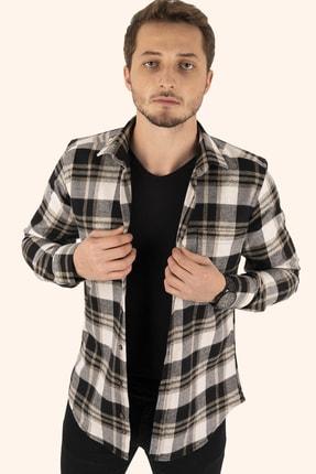 Etikmen Erkek Kahve Beyaz Kareli Kışlık Oduncu Gömlek