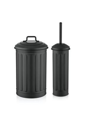 The Mia Siyah Çöp Kovası Tuvalet Fırçası Seti