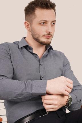 Etikmen Erkek Füme Armür Desenli Slimfit Gömlek
