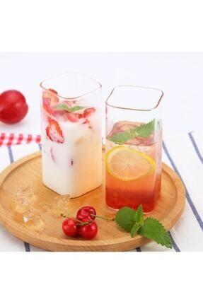 EARABUL Dikdörtgen Isıya Dayanıklı Borosilikat Trend Meyve Suyu Tatlı Bardağı (2 Adet 350 Ml 15 Cm)