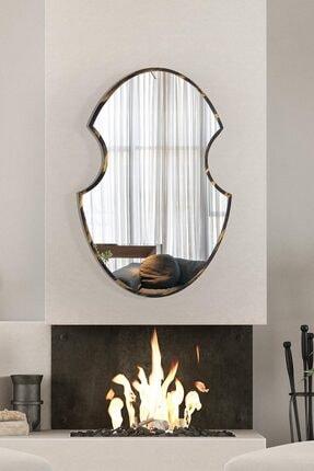 bluecape Shield 73 Cm Siyah Gold Eskitme Hol Koridor Duvar Salon Mutfak Banyo Wc Ofis Çocuk Yatak Odası Ayna