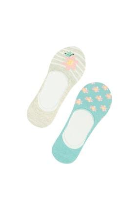 Penti Yeşil Gri Flower Strıpe  Babet Çorap 2li