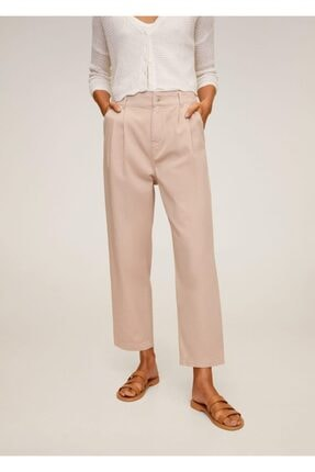 MANGO Woman Kadın Pembe Rahat Koton Pantolon 67037664