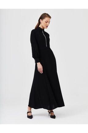 Kayra Nakışlı Dik Yaka Maxi Elbise Siyah B21 23128