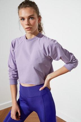 TRENDYOLMİLLA Lila Crop Örme  Sweatshirt TWOSS21SW0145