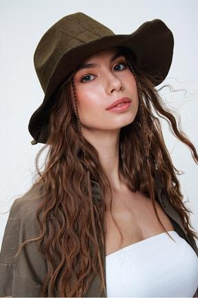 Trend Alaçatı Stili Kadın Haki Metal Aksesuarlı Fötr Şapka ALC-A2173