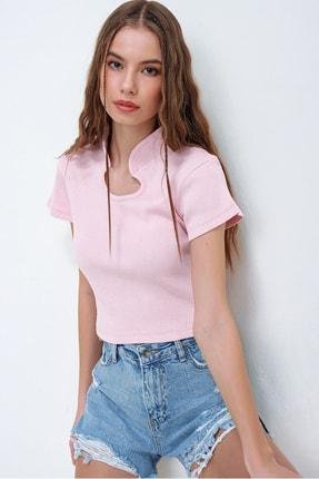 Trend Alaçatı Stili Kadın Pembe Hakim Yaka Kaşkorse Crop Bluz ALC-X5882