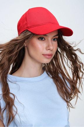 Trend Alaçatı Stili Kadın Kırmızı Unisex Şapka ALC-A2160