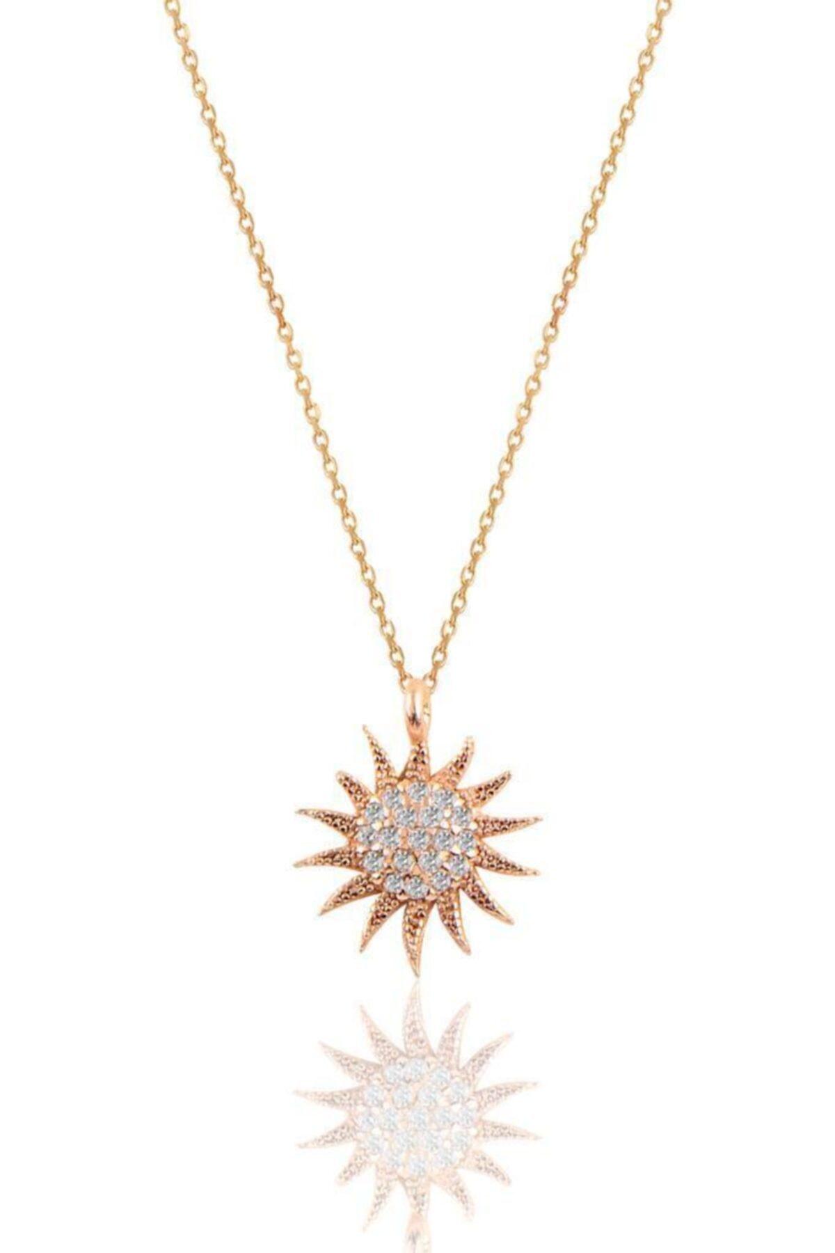 Söğütlü Silver Gümüş Rose Güneş Kolye 1