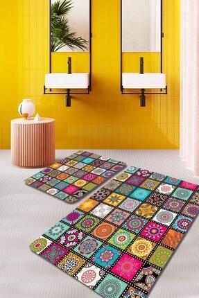 EVİMOD Colorful Renkli Rengarenk 2li Yıkanabilir Banyo Halısı Paspas Klozet Takımı