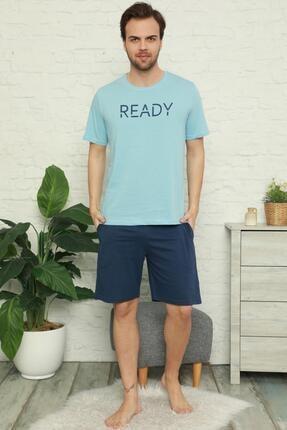Pijamaevi Erkek Mavi Ready Baskılı Şortlu Kısa Kollu Pijama Takımı