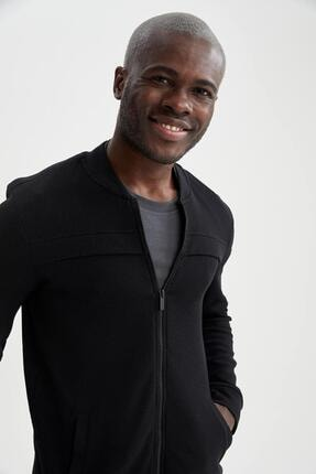DeFacto Erkek Siyah Regular Fit Bomber Mevsimlik İnce Hırka