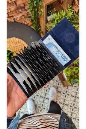 Visso leather Visso 660 Lacivert Matrix Hakiki Deri Akordiyon Deri Kredi Kartlık  Deri Cüzdan Çanta