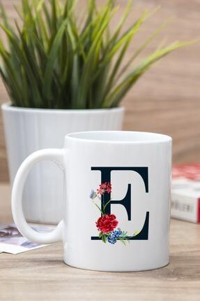 Hediyedukkani Beyaz E Harfi Çiçek Tasarım Baskılı Kupa Bardak