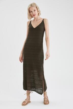 DeFacto Kadın Haki Askılı Triko Elbise