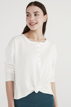 Penti Kadın Beyaz Knotted Long Sleeve Tişört