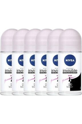 Nivea Invisible Black & White Clear 50 ml 6 Adet Roll-on