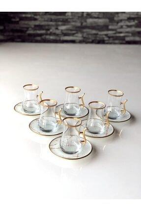 GÜRCÜGLASS Beyaz Mermer Kulplu 12 Prç Çay Seti
