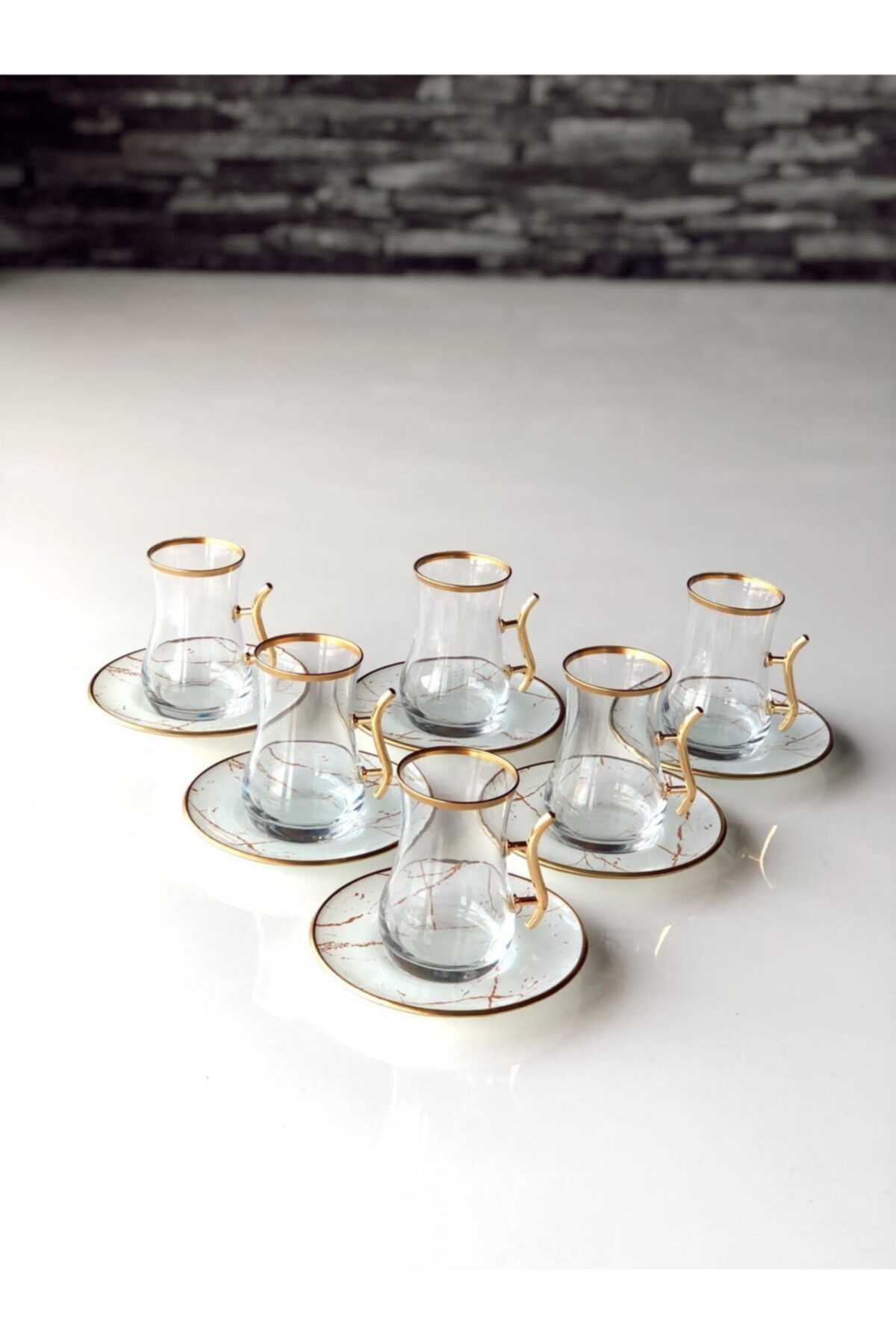 GÜRCÜGLASS Beyaz Mermer Kulplu 12 Prç Çay Seti 1