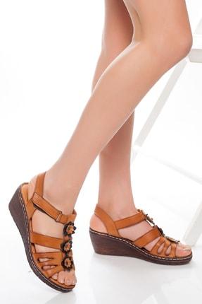 Deripabuc Hakiki Deri Taba Kadın Dolgu Topuklu Deri Sandalet Dp05-0503