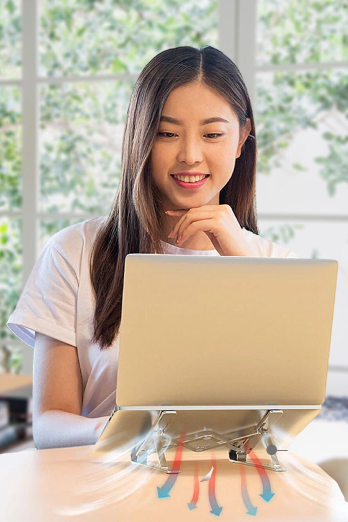 Buffer Metal Ayarlanabilir Dizüstü Destek Tabanı Tamamen Katlanabilir Taşınabilir Laptop Yükseltici 2