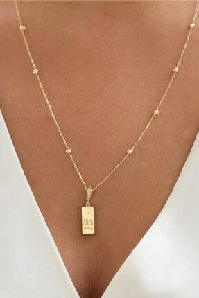 Goldium Jewellery Altın Külçe Altın Motifli Kolye Goldium Koga0008