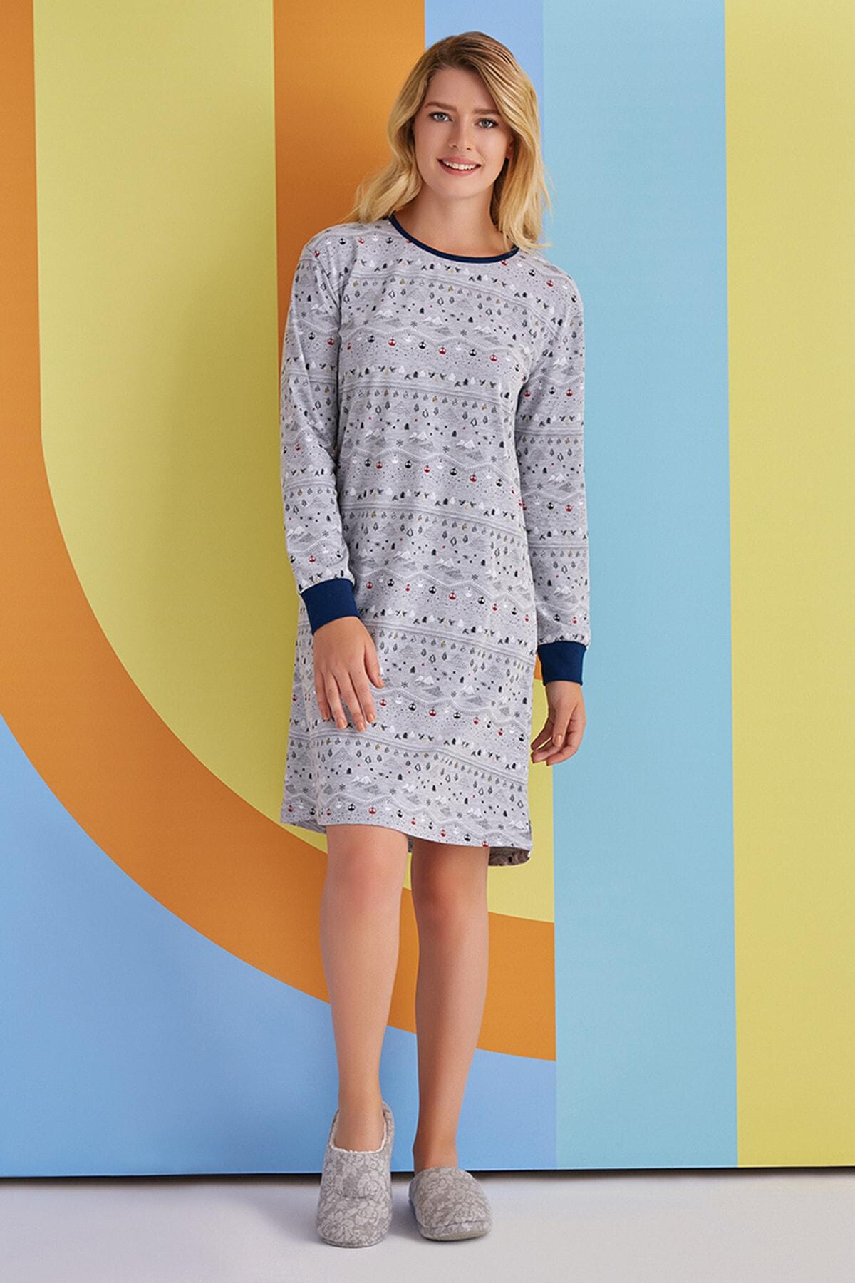 ROLY POLY Kadın Gri Renkli Desenli Gecelik Elbise Pijama 1361 1