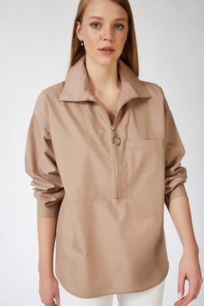 Happiness İst. Kadın Bej Fermuarlı Oversize Gömlek US00466