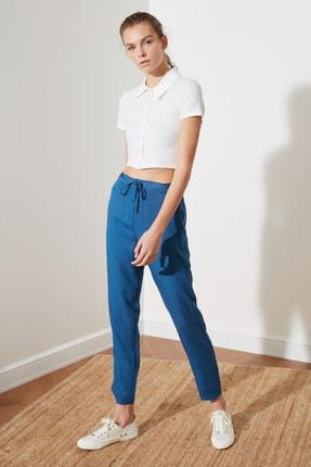 TRENDYOLMİLLA Indigo Bağlama Detaylı Pantolon TWOSS21PL0198