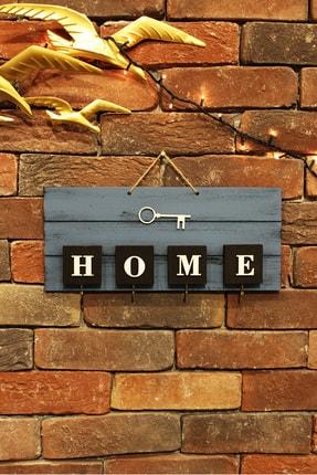The Company El Yapımı Home Yazılı Ahşap Mavi Anahtarlık