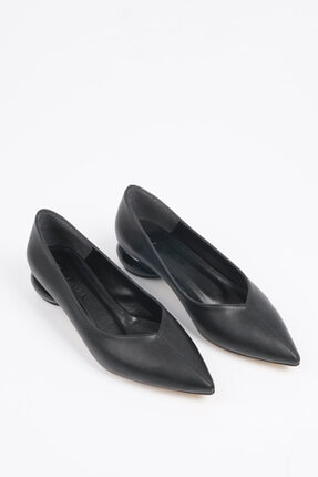 Marjin Kadın Siyah Günlük Klasik Topuklu Ayakkabı Evara
