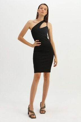 Quzu Asimetrik Askılı Midi Elbise Siyah