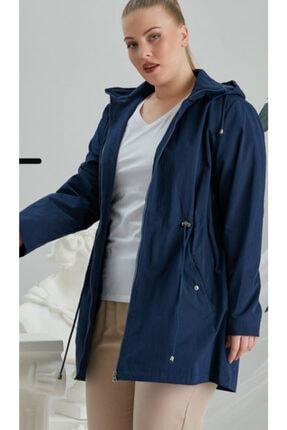 RMG Kadın Lacivert İç Astarlı Leopar Desenli Büyük Beden Trenç Kot Lacivert