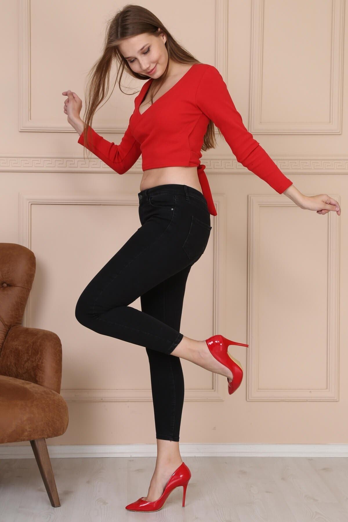 Modaca Kadın Gri Cepli Yüksek Bel Jean 2