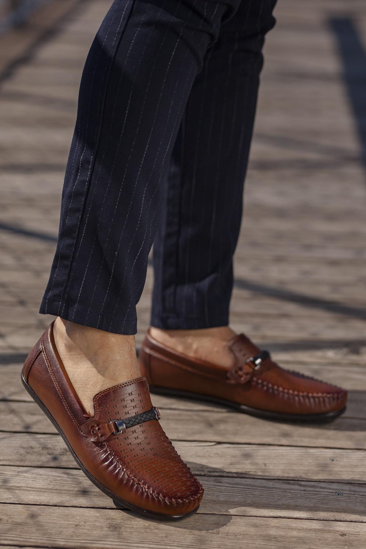 Daxtors Erkek Kahverengi Günlük Ortopedik Loafer Ayakkabı 1