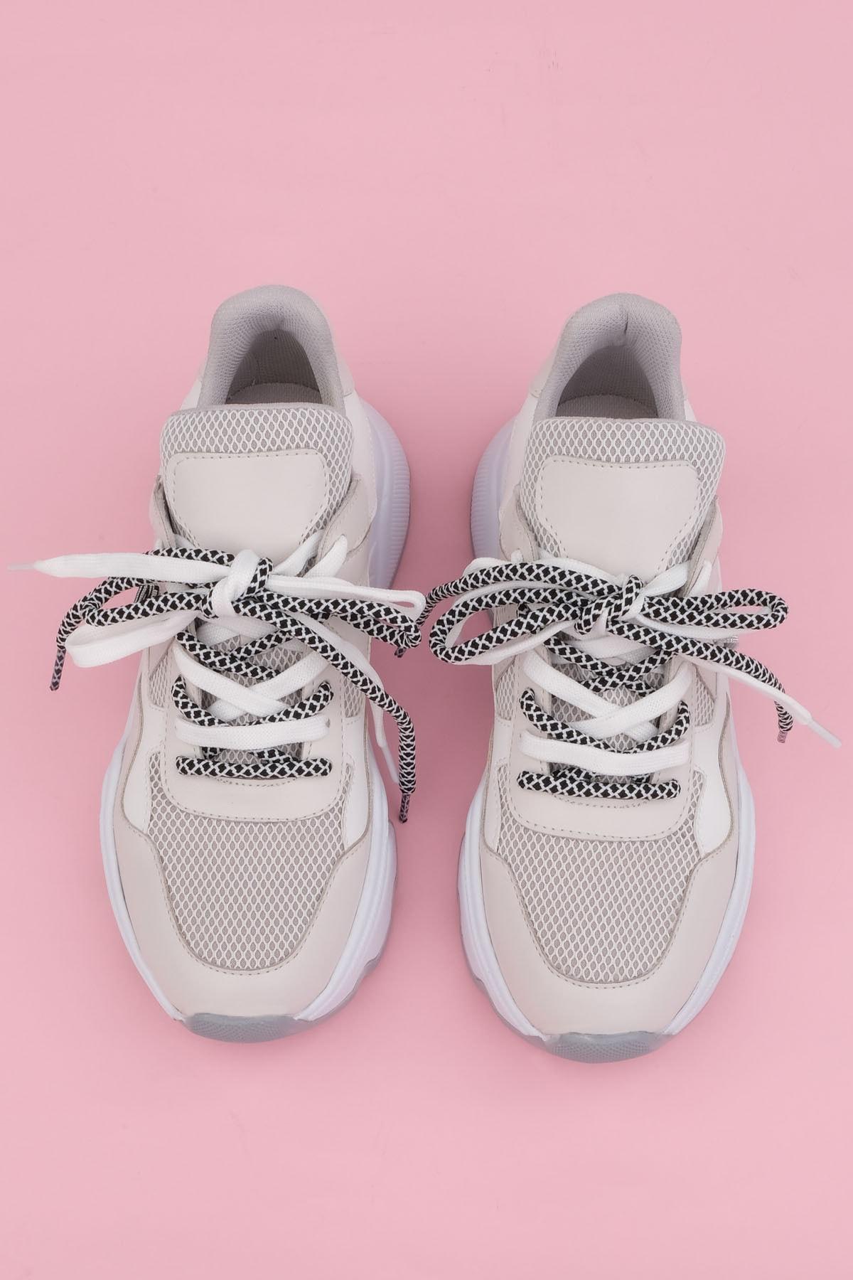 Marjin Anka Kadın Dolgu Topuk Sneaker Spor Ayakkabıbeyaz